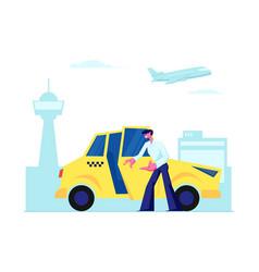experienced taxi driver open car door inviting vector image