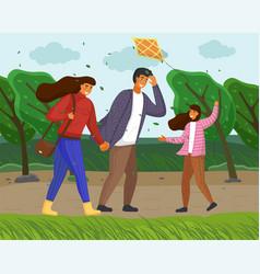 Family walks in autumn nature city park trees vector