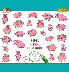 Find one of a kind with pigs animal characters vector