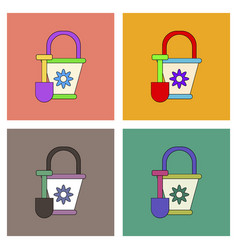 Flat icon design collection shovel and bucket vector