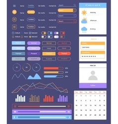 Flat ui Web and Mobile Kit vector image