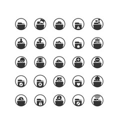 folder solid icon set and vector image