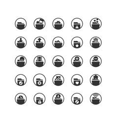 Folder solid icon set vector