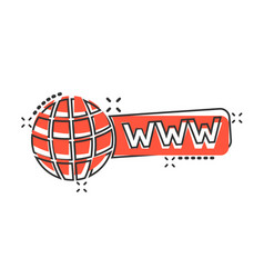 Global search icon in comic style website address vector