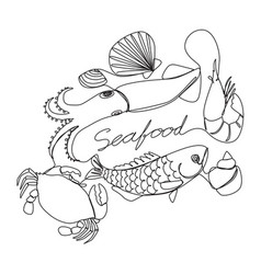 Graphic seafood vector