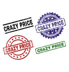 Grunge textured crazy price seal stamps vector