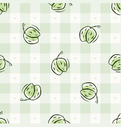 Hand drawn whimsical strawberry gingham seamless vector