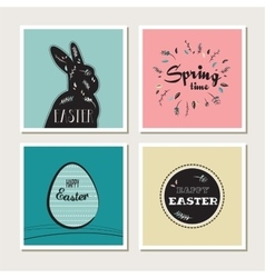 happy easter - set stylish cards or invitations vector image
