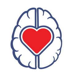 Heart symbol and human brain vector