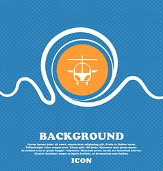 Helicopter icon sign Blue and white abstract vector