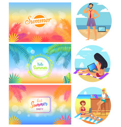 hello summer party 2017 set vector image