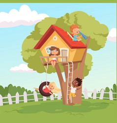 House on tree cute children playing in garden vector