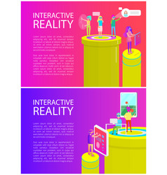 Interactive reality poster set vector