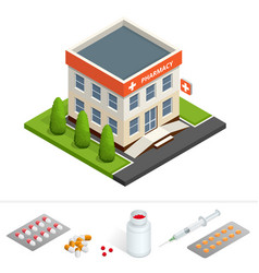 isometric pharmacy store facade of pharmacy in vector image