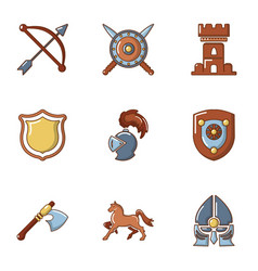 knightly tournament icons set cartoon style vector image