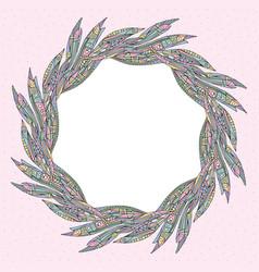 Leaves frame border floral leaf banner for text vector