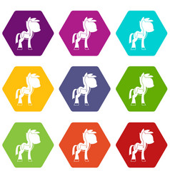 Little pony icon set color hexahedron vector