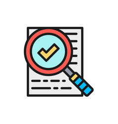Magnify glass with contract approved vector