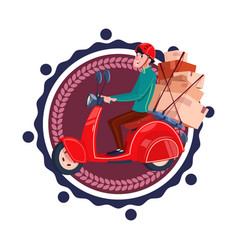 man deliver boxes riding retro scooter delivery vector image