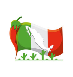 mexico flag with traditional mexican symbol vector image