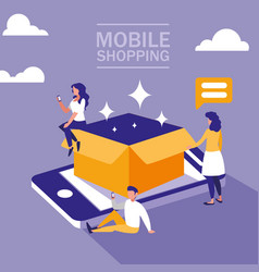mini people with smartphone and shopping online vector image