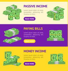 money dollar banner horizontal set packing in vector image
