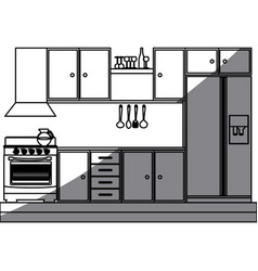 Monochrome silhouette of kitchen cabinets with vector