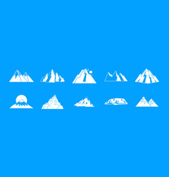 mountain icon blue set vector image