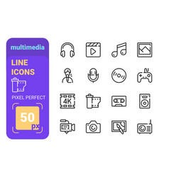 multimedia icons photo video music equipment vector image