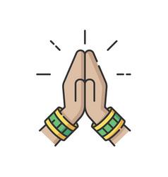 Namaste rgb color icon vector