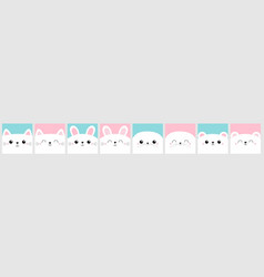 notebook cover greeting card white cat rabbit vector image
