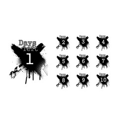 number days left countdown in dirty spray style vector image