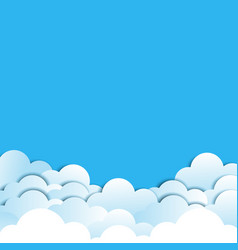 paper cloud with shadow on blue background vector image