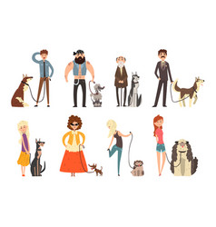 people walking with their dogs set owners and vector image