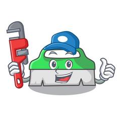 Plumber scrub brush mascot cartoon vector