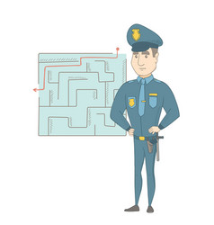 policeman looking at labyrinth with solution vector image