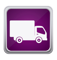 Purple emblem delivery car icon vector