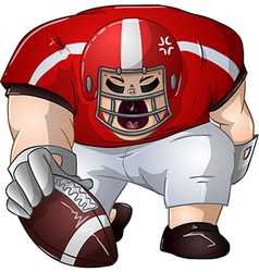 Red White Football Player Kneels and Holds Ball vector image