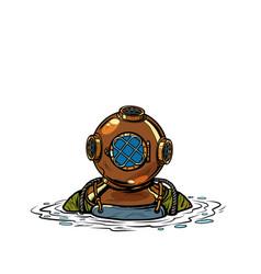 retro deep sea diver in metal helmet isolate on vector image
