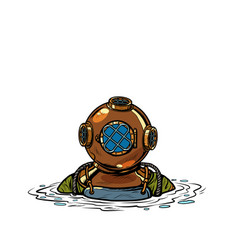 Retro deep sea diver in metal helmet isolate vector