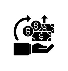 Return on investment black glyph icon vector