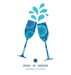 Round snowflakes toasting wine glasses silhouettes vector