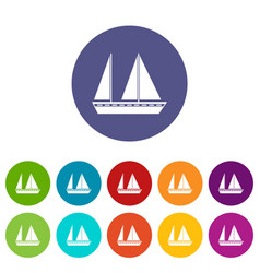 Sailing boat set icons vector