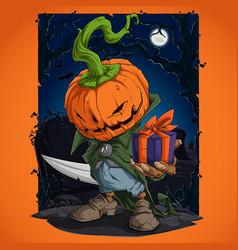 scary halloween pumpkin character vector image