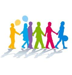 School children holding hands vector