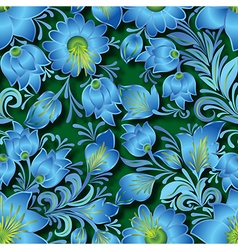 Seamless blue floral ornament on green background vector