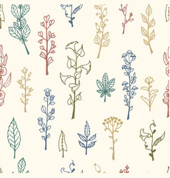 Seamless pattern with doodle herbs and flowers vector