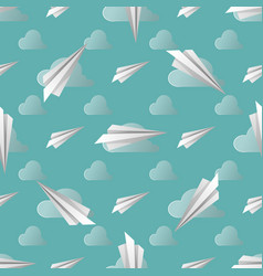 seamless pattern with paper planes soft colors vector image