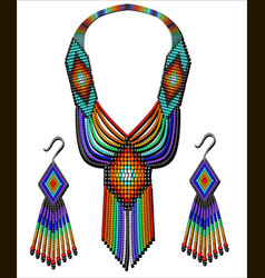 set beads rainbow necklace and earrings vector image