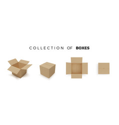 set boxes realistic color collection vector image